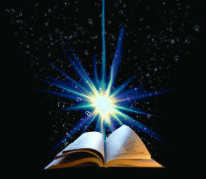 A book is opened in front of a black night sky with a brilliant blue light above it