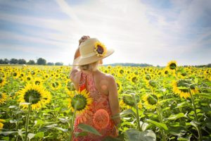A woman holding onto her sun hat stands facing a field of sunflowers