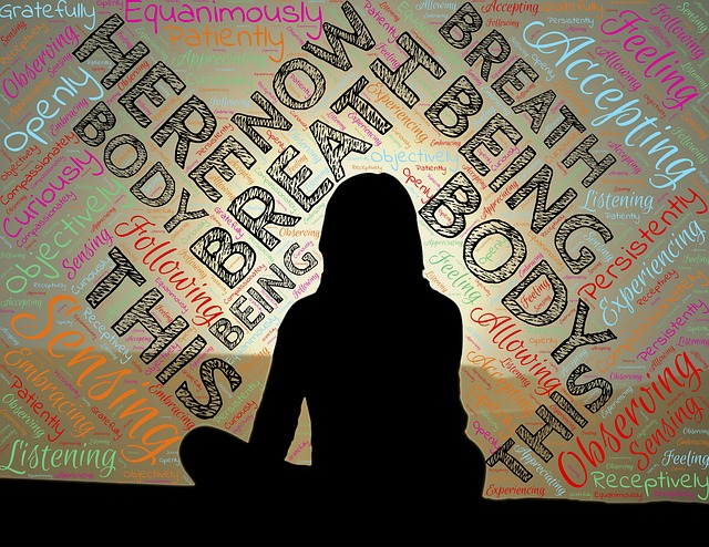 A woman silhouette sits facing away with words in the background. Here. Body. Breathe.