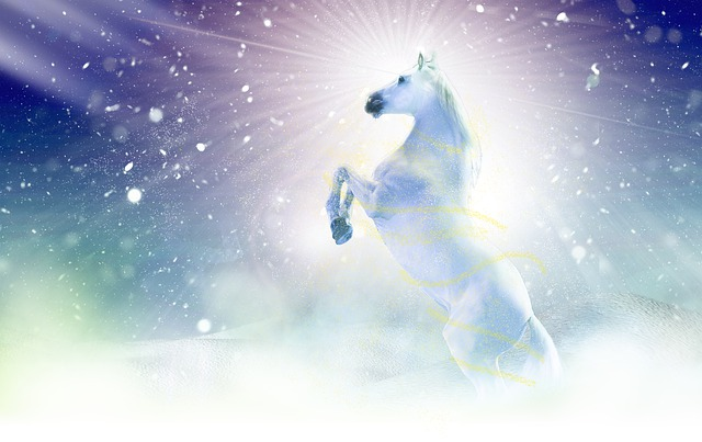 A beautiful white horses is raised on its hind legs with bright shiny rays of light coming down around it.